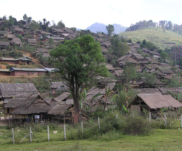 Burma hills and buildings