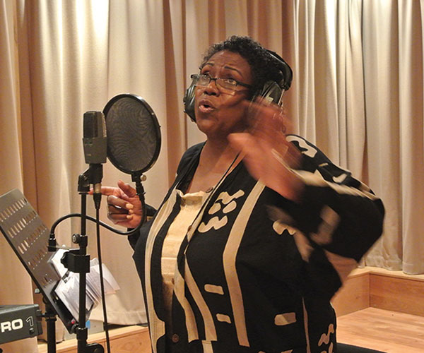 Elsa Harris in recording studio
