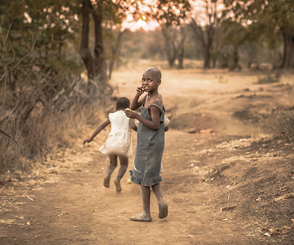 Children in rural area in Zimbabwe